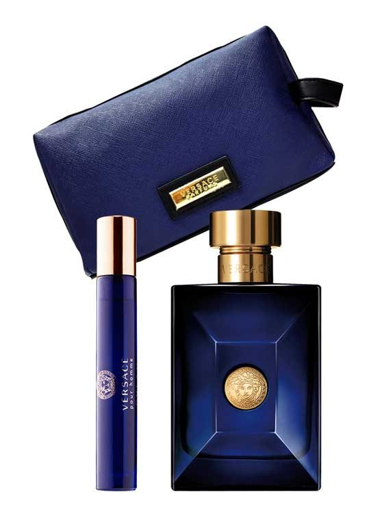 Dylan Blue pour Homme Gift Set for Men (edT 100ml + edT Travel Spray 10ml + Blue Trousse) by Versace