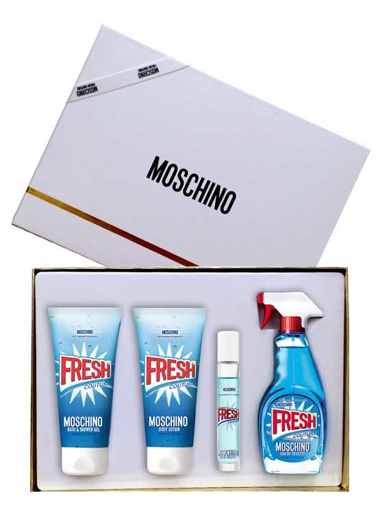 Fresh Couture Gift Set for Women (edT 100ml + Body Lotion + Bath and Shower Gel + edT Travel Spray 10ml) by Moschino