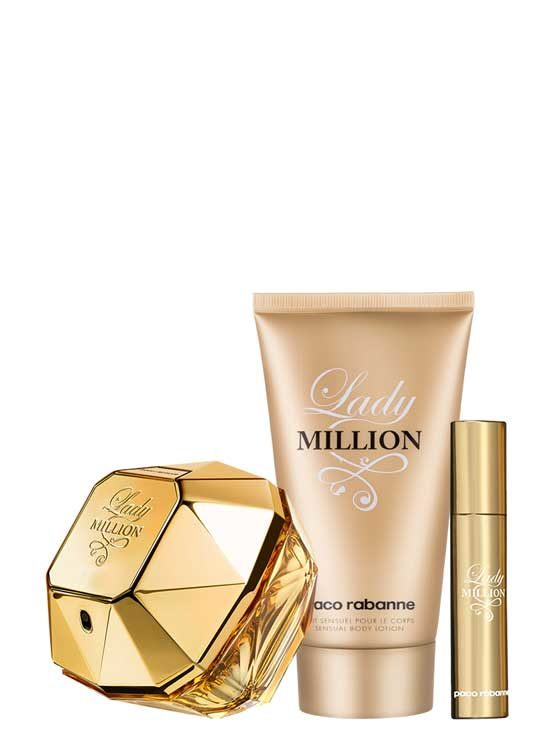 Lady Million Travel Set for Women (edP 80ml + Body Lotion + edP Travel Spray 10ml) by Paco Rabanne