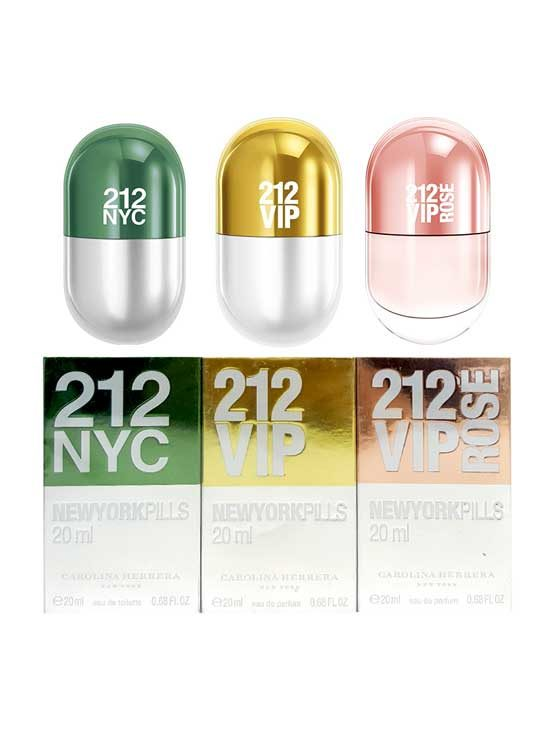 212 NewYork Pills for Women, set of 3pcs, 20ml each (212 VIP Rose, 212 VIP, 212 NYC) by Carolina Herrera