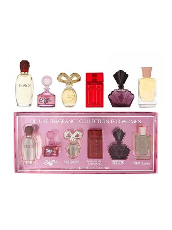 Miniature Collection for Women, set of 6pcs (Design 7.5ml + Curve Crush 5.3ml + White Diamond 3.7ml + Red Door 5ml + Passion 3.7ml + White Shoulders 7.5ml) by Elizabeth Arden