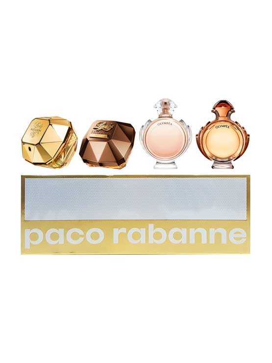 Travel Miniatures for Women (Lady Million 5ml, Lady Million Prive 5ml, Olympea 6ml, Olympea Intense 6ml) by Paco Rabanne