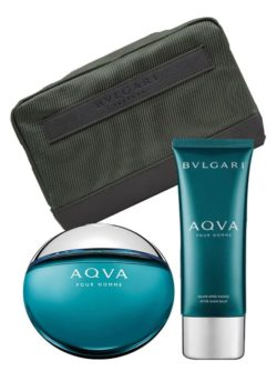 Aqva pour Homme Gift Set for Men (edT 100ml + After Shave Balm + Pouch) by Bvlgari