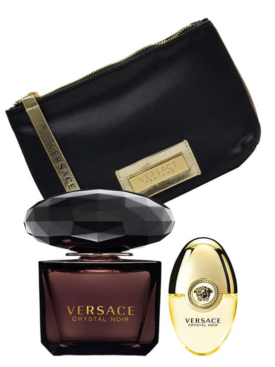 Crystal Noir Gift Set for Women (edT 90ml + Black and Gold Pouch + edT 10ml) by Versace