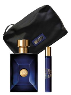 Dylan Blue Gift Set for Men (edT 100ml + Travel Spray  edT 10ml + Black Trousse) by Versace