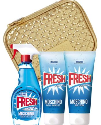 Fresh Couture Gift Set for Women (edT 100ml + 100ml Body Lotion + 100ml Bath & Shower Gel + Golden Trousse) by Moschino