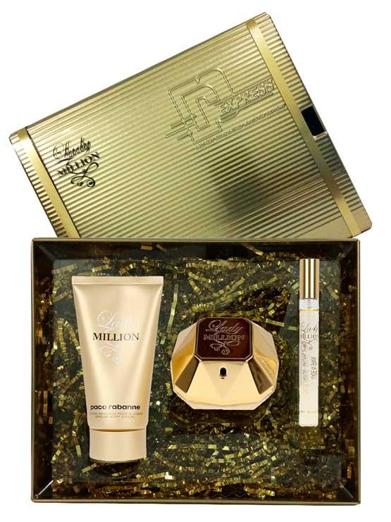 Lady Million Gift Set for Women (edP 80ml + Sensual Body Lotion 100ml + edP 10ml) by Paco Rabanne