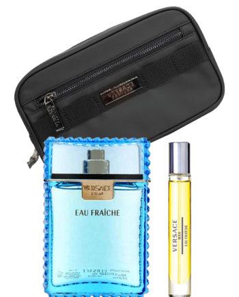 Eau Fraiche Gift Set for Men (edT 100ml + edT Travel Spray 10ml + Black Trousse) by Versace